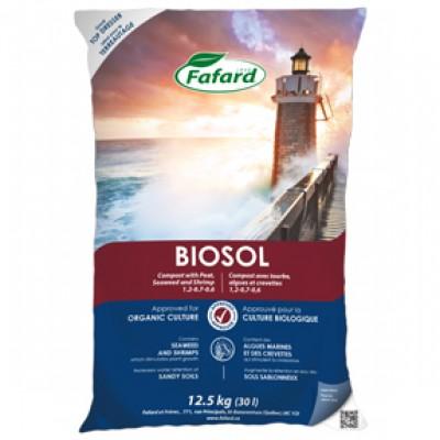 Compost biosol avec tourbe, algues et crevettes